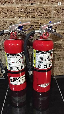 SET OF (2) Nice REFURBISHED 5lb ABC FIRE EXTINGUISHER AND CERTIFIED TAG