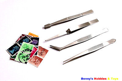 1 x New Set of 4pcs Stamp Tweezers (11cm - 12cm) Philately Tool Stainless Steel