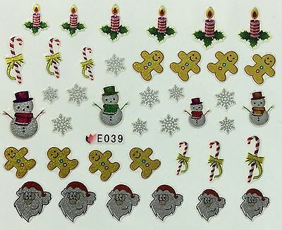 Christmas Nail Art Stickers Decals Decoration Snowflakes Gingerbread Man (E39)