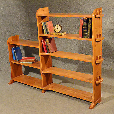 Arts & Crafts Style Large Open Bookcase Display Shelves Solid Elm 20th Century