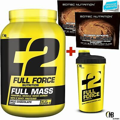 F2 Full Force 2,3 Kg Mega Mass Gainer Di Proteine Del Siero Whey + Bcaa Creatina