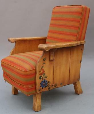 1930s Rancho Monterey Period Side Chair Hand Painted Floral Armchair Seat (6398)