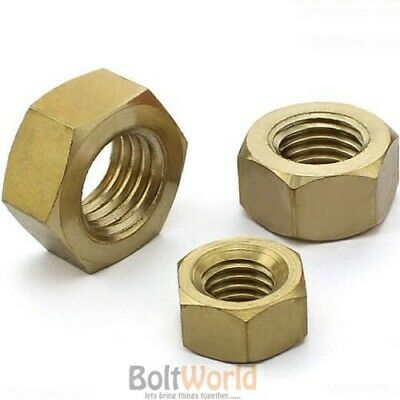 Pack of 30 Solid Brass Full Nut Hexagon M8 1.25mm Pitch Hex Bolt Screw Din 934