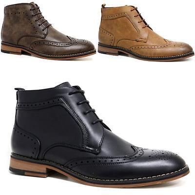 Mens Cavani Leather Boots New Smart Formal Brogue Combat Lace Ankle Boots Shoes
