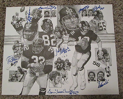 VINTAGE TEAM OF THE DECADE 8 AUTOS #ed LITHOGRAPH PITTSBURGH STEELERS