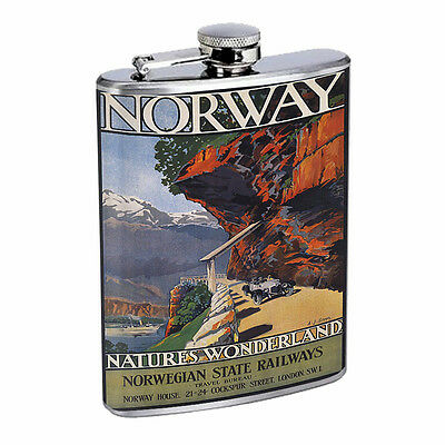 Vintage Poster D54 Flask 8oz Stainless Steel Norway Natures Wonderland