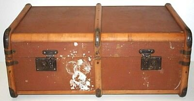 Antique Wood Bound Steamer Travel Trunk Chest Coffee Table - FREE Shipping [706]