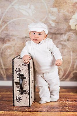 Baby Boy White Christening Baptism Formal Smart Suit Outfit Jumper Wedding 0-18