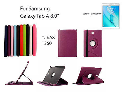 """Screen Protector/360°Rotate PU Leather cover case for Samsung Galaxy Tab A 8"""""""