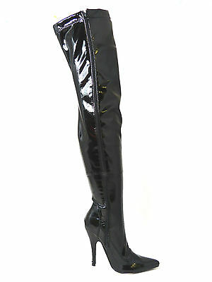 Mens Ladies WomensBlack Patent Stiletto Thigh High Over Knee   Zip Boots 9-12