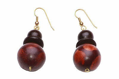 Boho Style Ethnic Pattern Round Wood Beads Drop Earrings, Brown Gold(Zx50)