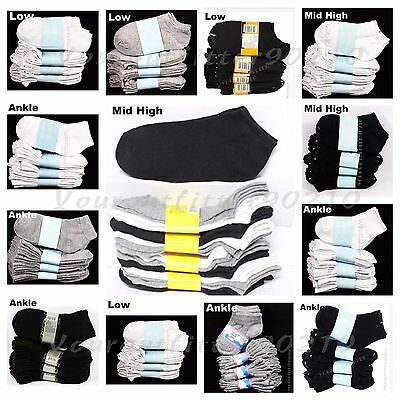 Big Kid Ankle Socks Lot Toddler Boy Girl School Black White Gray0-12 2-3 4-6 6-8