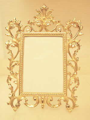 Victorian Style Wall Hanging Frame/ Table Top Easel Ornate Brass  Frame