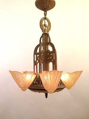 1930'S Consolidated Five Light Art Deco Fixture