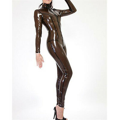 Transparent Black Latex Tights Catsuit Rubber Skintight Bodysuit Sexy Costume