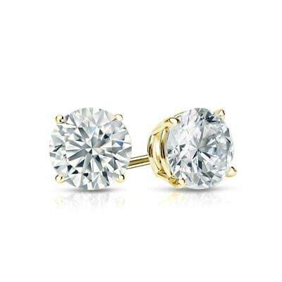 14k Yellow Gold 4-Prong Round Stud Earrings 0.75 ct tw VVS1/D