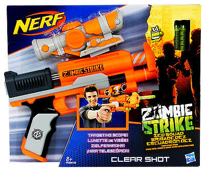 Nerf Zombie Strike Clear Shot Dartblaster + 4 Elite Z.E.D. Darts + Scope