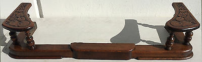 Antique Carved Wood and Iron Country Fireplace Fender Expandable Fruit
