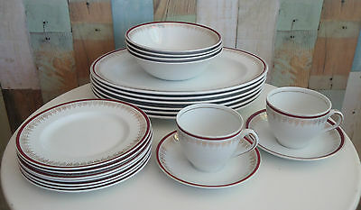 Vintage Alfred Meakin England Dinner Set 21 Pcs *Red Gold Filigree Fleur de Lis