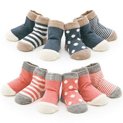 4 Pairs Unisex Newborn Baby Winter Cotton Socks Shoes Boots Boy Girl Toddler