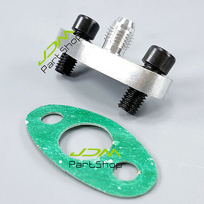 T3 T4 TB03 T04B TURBO OIL FEED INLET FLANGE + GASKET Adapter Kit AN4 4AN fitting