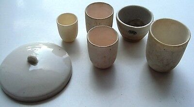 Soviet Vintage WhPottery Lab Cups White Porcelain  Chemistry Apothecary
