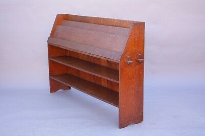 1910 Arts & Crafts Oak Wood Book Shelf Display American Craftsman Style (8682)
