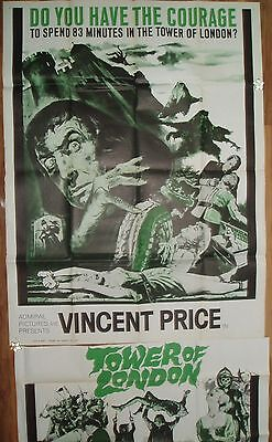 TOWER OF LONDON 1962 ORIGINAL 3 SHEET HORROR MOVIE POSTER 41 x 81 VINCENT PRICE
