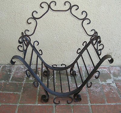 Antique Ornate French Victorian Gothic Wrought Iron Log Holder STEAMPUNK - Vtg
