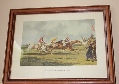 Old Horse Racing Print. The High Mettled Racer. Decorative Antique Looking Frame