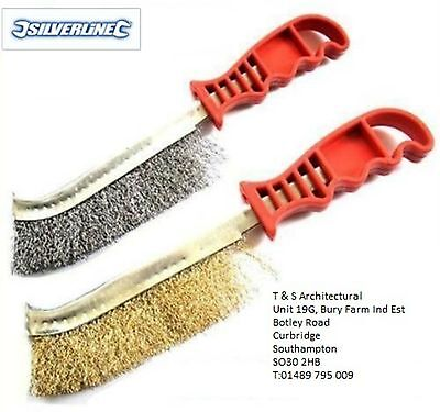 Wire Brush Set Of 2 - Silverline, Brass & Steel - Light & Heavy Duty Cleaning