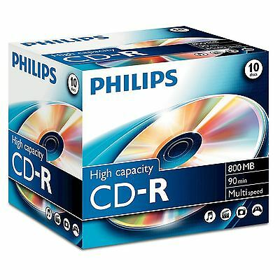 Philips Cd-R 90 Minute 800Mb 40X Speed Blank Cd Discs With Jewel Cases - 10 Pack