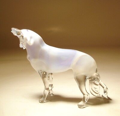 Blown Glass Art Wild Animal White Polar Figurine WOLF Statue