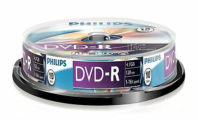 New Philips Dvd-R 120 Min Video 4.7Gb Data 16X Speed Blank Disc Spindle 10 Pack