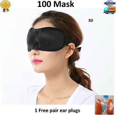 100 Lot 3D Eye Mask Sleeping Shade Cover Blindfold Rest Relax Travel Sleep Aid