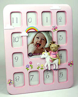 Pink BABY Girl Teddy 1st Year 12 Month PHOTO FRAME COLLAGE Birthday Newborn Gift