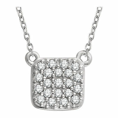 """Diamond Square Cluster 18"""" Necklace In 14K Gold 1/6 ctw"""