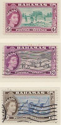 (ZL-47) 1947 Bahamas 3mix 4d, 8d and 1/- QEII mint& used $4.00