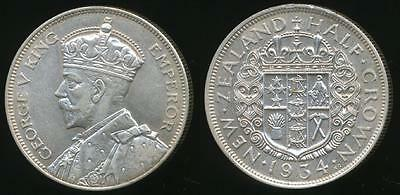 New Zealand, 1934 1/2 Crown, George V (Silver) - almost Uncirculated