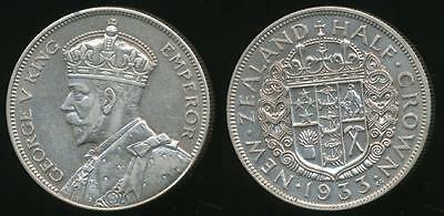 New Zealand, 1933 1/2 Crown, George V (Silver) - almost Uncirculated
