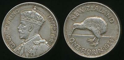 New Zealand, 1934 Florin, 2/-, George V (Silver) - almost Uncirculated