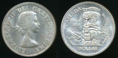 Canada, Confederation, 1958 One Dollar, Elizabeth II (Silver) - Uncirculated