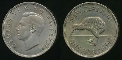New Zealand, 1947 Florin, 2/-, George VI - Uncirculated