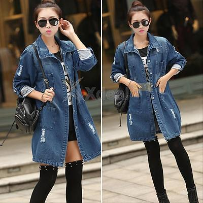Womens Denim Jean Casual Long Sleeve Button Outerwear Jeans Coat Jacket Tops New