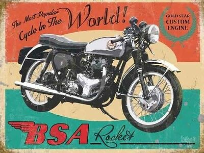 BSA Rocket Motorcycle, Gold Star Engine Vintage, Small Metal/Tin Sign Picture