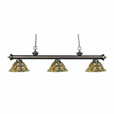 Z-Lite 200-3OB-R14A Riviera 3 Light Billiard Light with Glass Tiffany Shade