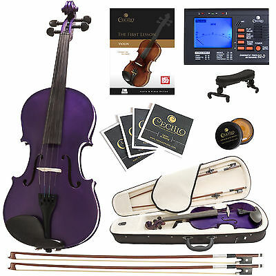 Cecilio 4/4 Ebony Fitted Solidwood Violin Metallic Purple+Tuner+Book/Audio/Video