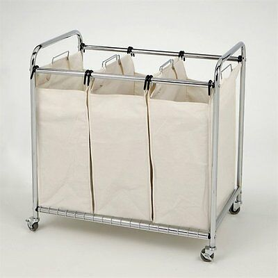 Vancouver Classics SHE16166 Chrome 3-Bag Laundry Sorter