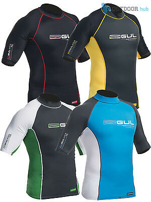 Gul Xola Mens Short Sleeved Rash Vest Guard Wetsuit Top UV Sun Surf Swim Dive