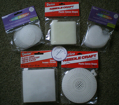 "DARICE PLASTIC CANVAS HEART CIRCLE SQUARE 3"" 4"" 4.5"" Pack 5 10 20 Cross Stitch"